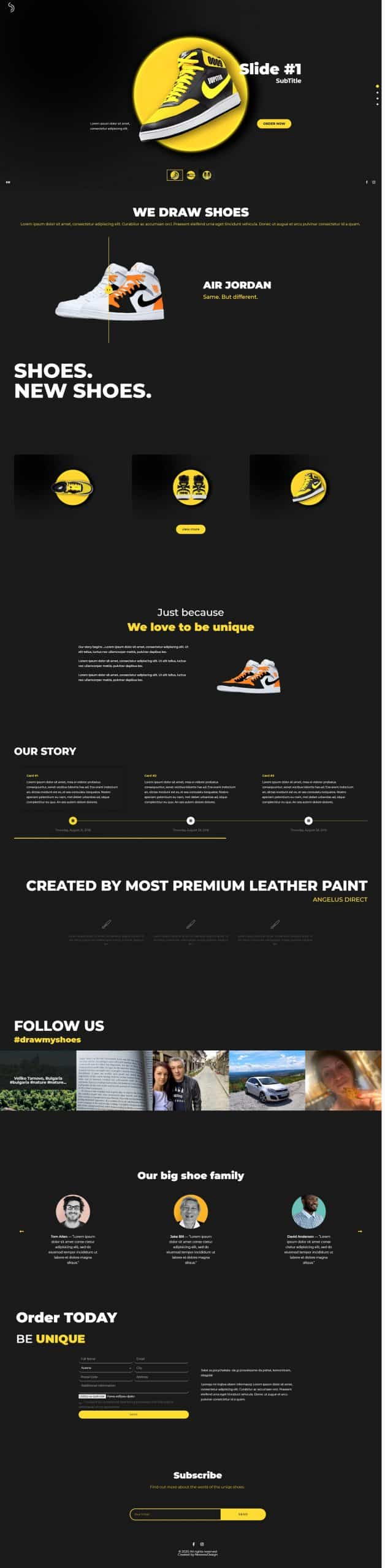shoedrawer home page design